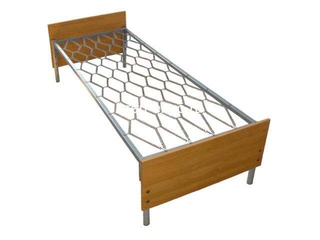 Одноярусные кровати металлические для дома с ДСП - 3