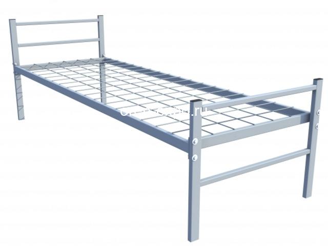 Одноярусные кровати металлические для дома с ДСП - 4